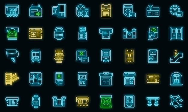 Symbol für den u-bahn-fahrkartenautomaten. umriss u-bahn-fahrkartenautomat vektorsymbol neonfarbe auf schwarz