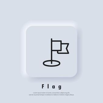 Symbol für die flaggenlinie. missionssymbol. leistungssymbol, logo. vektor-eps 10. neumorphe ui ux weiße benutzeroberfläche web-schaltfläche. neumorphismus
