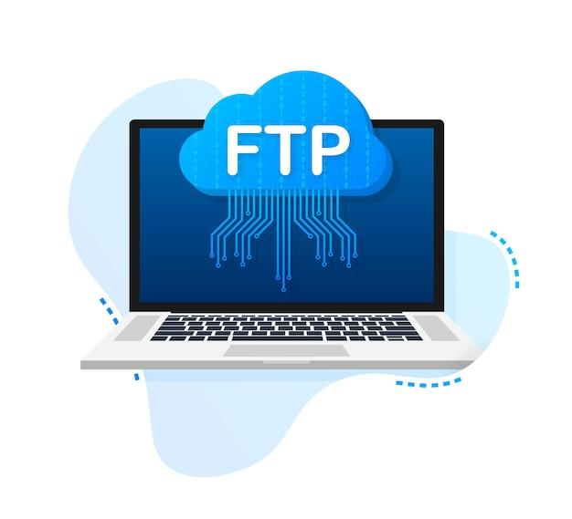 Symbol für die ftp-dateiübertragung auf dem laptop. symbol für die ftp-technologie. daten zum server übertragen. vektor-illustration.