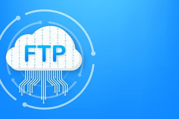 Symbol für die ftp-dateiübertragung. symbol für die ftp-technologie. daten zum server übertragen. vektor-illustration.