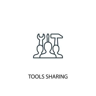 Symbol für die gemeinsame nutzung von tools. einfache elementabbildung. werkzeuge, die konzeptentwurf zum symbolentwurf teilen. kann für web- und mobile ui/ux verwendet werden