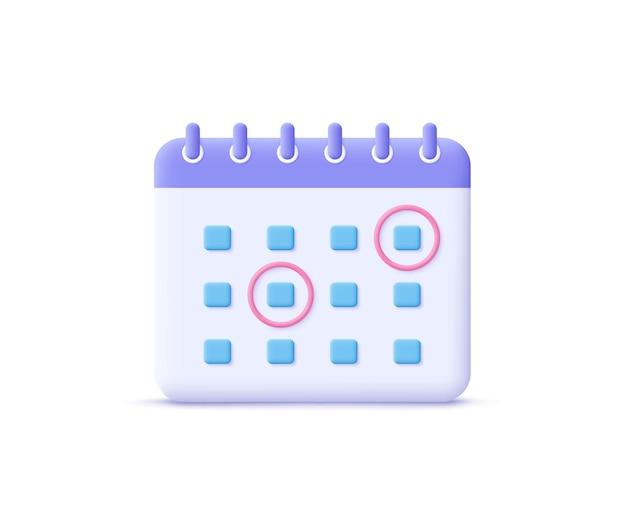 Symbol für die kalenderzuweisung. planungskonzept. 3d-vektor-illustration.