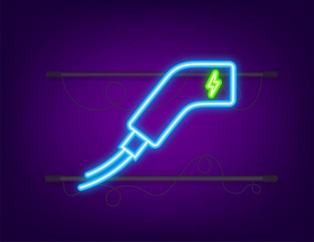 Symbol für die ladestation für elektrofahrzeuge. ev-ladung. elektroauto. neon-symbol. vektor-illustration.