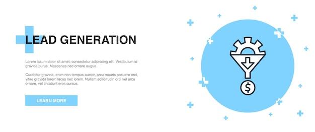 Symbol für die lead-generierung, banner-umriss-vorlagenkonzept. linienillustrationsdesign zur lead-generierung