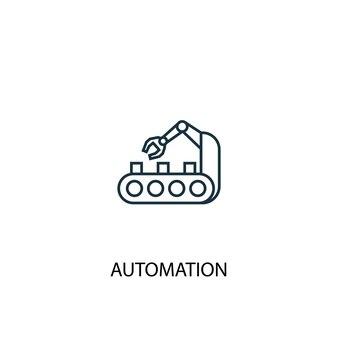 Symbol für die leitung des automatisierungskonzepts. einfache elementabbildung. automatisierungskonzept skizzieren symboldesign. kann für web- und mobile ui/ux verwendet werden