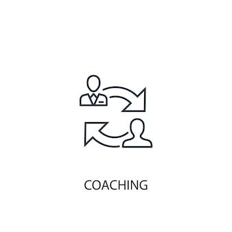 Symbol für die leitung des coaching-konzepts. einfache elementabbildung. coaching-konzept skizzieren symboldesign. kann für web- und mobile ui/ux verwendet werden