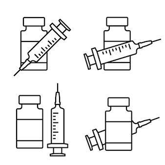 Symbol für die leitung des coronavirus-impfstoffs. spritze mit fläschchenzeichen. medizinische impfstoffflasche mit spritzensymbol. linearer stil, impfung gegen coronavirus. bearbeitbarer strich. impfkonzept. vektor Premium Vektoren