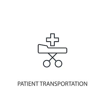 Symbol für die leitung des konzepts des patiententransports. einfache elementabbildung. patiententransportkonzept umrisssymbol design. kann für web- und mobile ui/ux verwendet werden