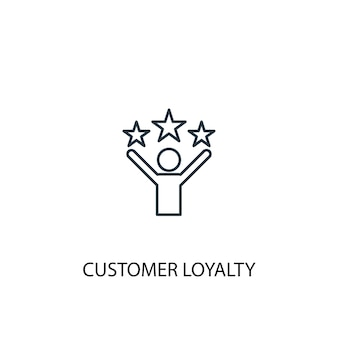 Symbol für die leitung des kundenbindungskonzepts. einfache elementabbildung. kundenbindungskonzept skizzieren symboldesign. kann für web- und mobile ui/ux verwendet werden