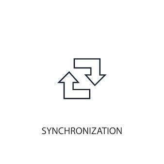Symbol für die leitung des synchronisierungskonzepts. einfache elementabbildung. synchronisierungskonzept skizzieren symboldesign. kann für web- und mobile ui/ux verwendet werden