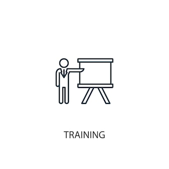 Symbol für die leitung des trainingskonzepts. einfache elementabbildung. trainingskonzept gliederung symbol design. kann für web- und mobile ui/ux verwendet werden