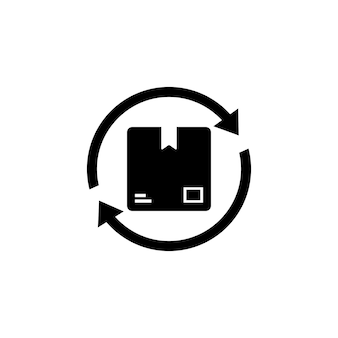 Symbol für die lieferstatuszeile aktualisieren. versandkarton zurück. paket mit pfeilen. vektor auf weißem hintergrund isoliert. eps 10.
