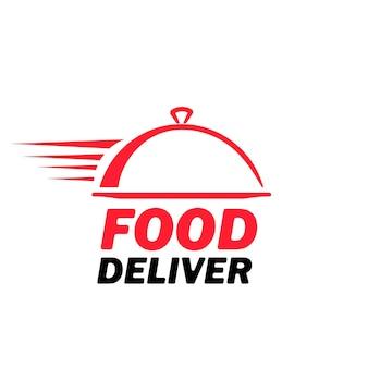 Symbol für die lieferung von lebensmitteln. schneller express-service. restaurant-logo. vektor auf weißem hintergrund isoliert. eps 10