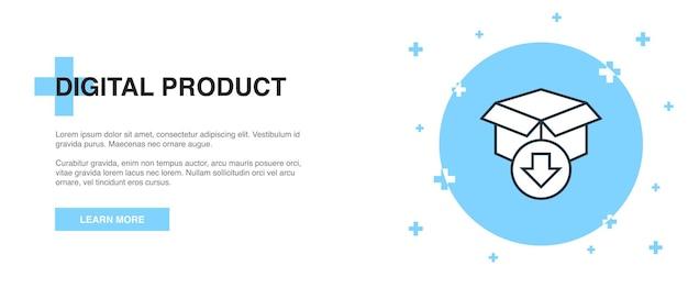 Symbol für digitales produkt, banner-umriss-vorlagenkonzept. digitales produktlinien-illustrationsdesign