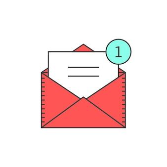 Symbol für e-mail-benachrichtigungen mit rotem umriss. konzept der benutzeroberfläche, sms, spam, einkaufen, benachrichtigen, chat, checkliste, e-commerce. isoliert auf weißem hintergrund. lineare stiltrend moderne logo-design-vektor-illustration