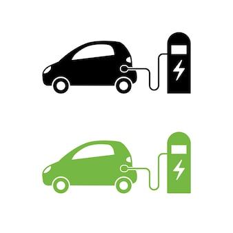 Symbol für elektroauto und elektrische ladestation