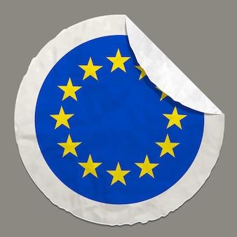 Symbol für europäische flaggenkonzepte auf einem papieretikett