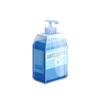 Symbol für händedesinfektionsmittel. farbabbildung der desinfektionsmittelflasche.