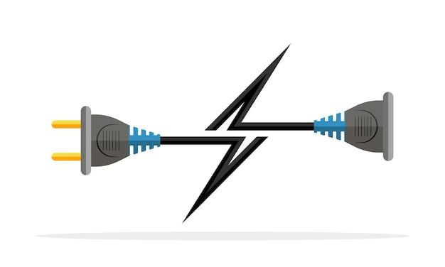 Symbol für kabelstecker und buchse. stecker, steckdose und kabel in form eines blitzes.