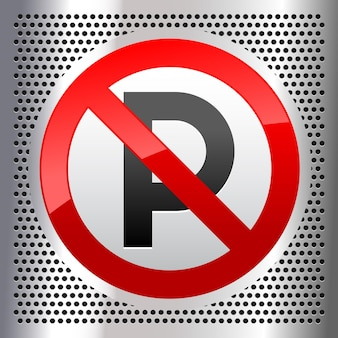 Symbol für kein parken auf einem metallisch perforierten edelstahlblech