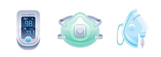 Symbol für medizinische geräte und geräte. pulsoximeter, sauerstoffmaske, atemschutzmaske. coronavirus, covid-virus-präventionselemente.