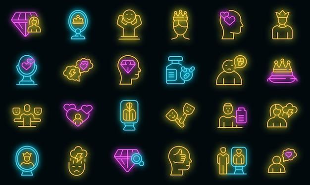 Symbol für narzissmus. umrisse narzissmus vektor icon neonfarbe auf schwarz
