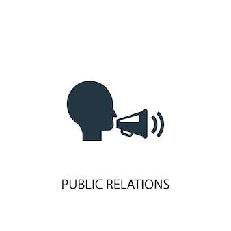 Symbol für öffentlichkeitsarbeit. einfache elementabbildung. pr-konzept symbol design. kann für web und mobile verwendet werden.