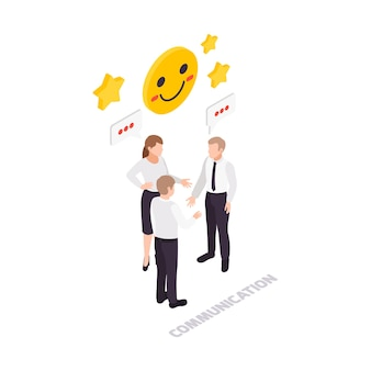 Symbol für soft skills-konzept mit drei arbeitern, die isometrisch kommunizieren