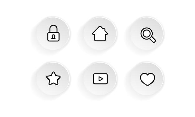 Symbol für soziales netzwerk. internet-symbol. set von social-media-buttons für das design. vektor auf weißem hintergrund isoliert. eps 10.