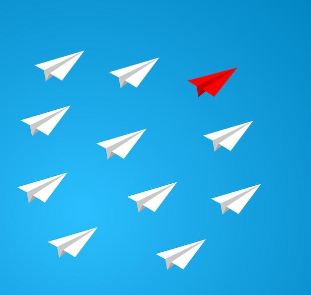 Symbol für teamwork der führung von papierflugzeugen