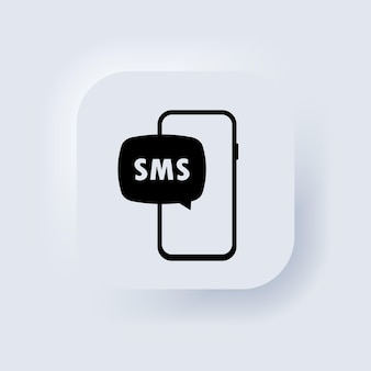 Symbol für ungelesene e-mail-benachrichtigungen. neue nachricht auf dem smartphone-bildschirm. neumorphic ui ux weiße benutzeroberfläche web-schaltfläche. neumorphismus. vektor-eps 10.