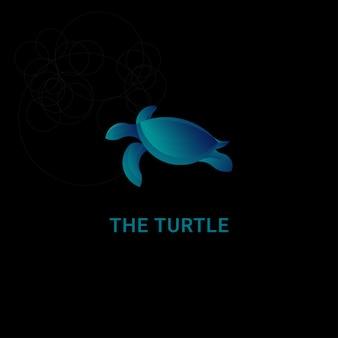 Symbol logo schildkröte mit goldener schnitt-konzept