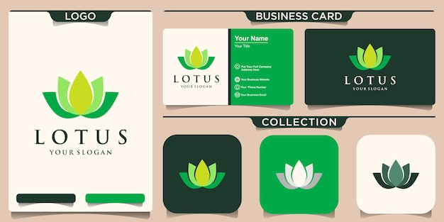 Symbol lotus flower logo und visitenkartenentwurf