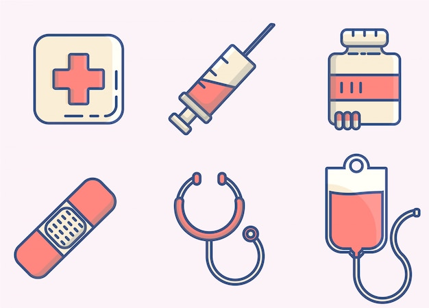Symbol medizinische elementlinien