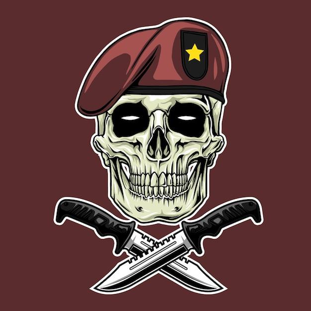 Symbol militärschädel im roten hintergrund