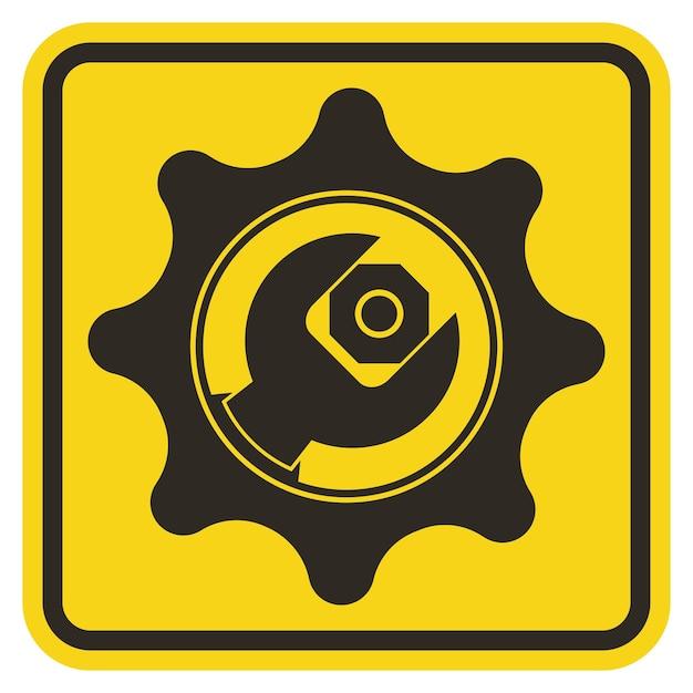 Symbol service tool zeichen auf gelbem hintergrund