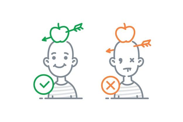 Symbol von männern mit äpfeln auf dem kopf pfeilziele