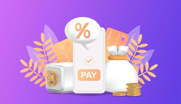 Symbol zins-cashback-vorlage für werbefinanzierung volumetrisches zeichen zinsrückerstattung