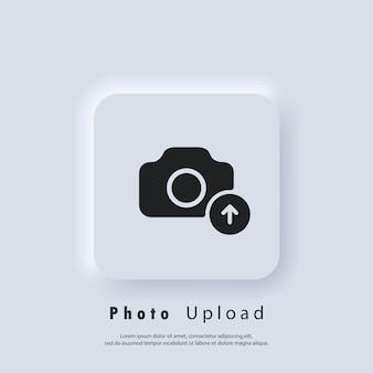 Symbol zum hochladen von fotos. bild flache symbole. hochladen ihres fotologos. kamera-zeichen. vektor-eps 10. ui-symbol. neumorphic ui ux weiße benutzeroberfläche web-schaltfläche. neumorphismus
