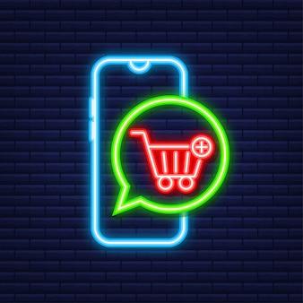 Symbol zum warenkorb hinzufügen. neon-symbol. einkaufswagen-symbol. vektor-illustration.