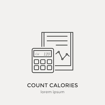Symbol zum zählen von kalorien. moderne dünne linie icons set. flache design-webgrafik-elemente.