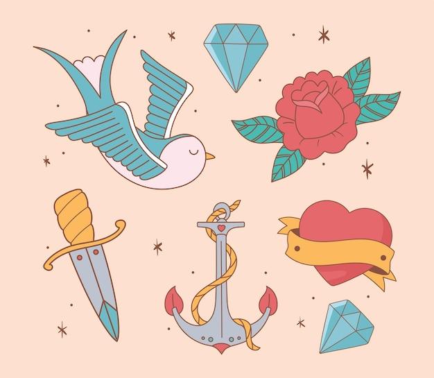 Symbole der alten schule der illustration