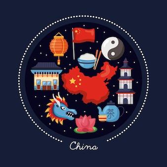 Symbole der chinesischen republik im kreis