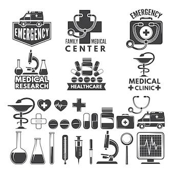 Symbole der medizin. medizinische logos und abzeichen