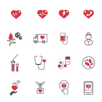 Symbole der medizinischen behandlung des herzens
