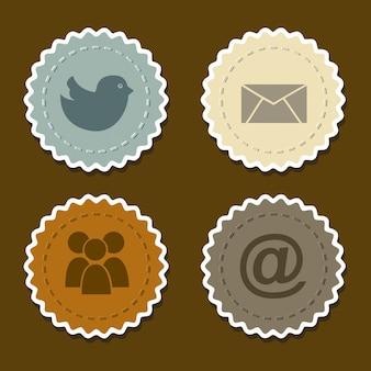 Symbole der sozialen netzwerke über braunem hintergrund