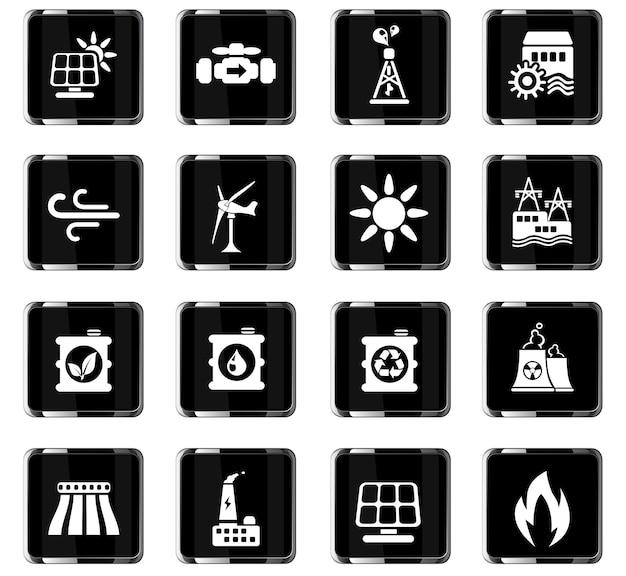 Symbole der stromerzeugungsindustrie für das design der benutzeroberfläche