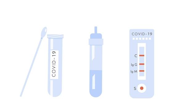 Symbole des covid-19-heimtestkits. coronavirus-antikörper-antigen-bluttest. vektor-illustration
