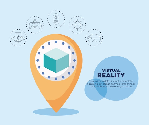 Symbole des symbols 3d und der in verbindung stehenden ikonen der virtuellen realität