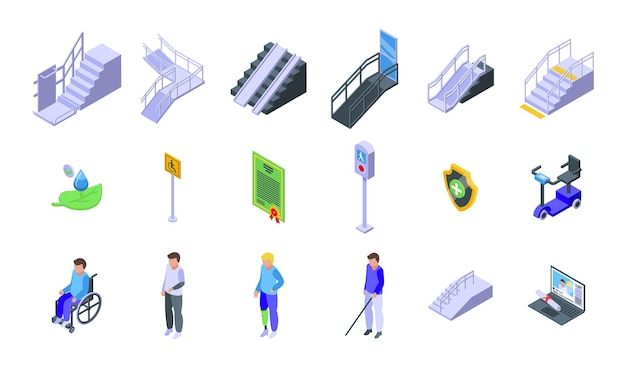 Symbole für barrierefreie umgebungen festgelegt. isometrischer satz von vektorsymbolen für barrierefreie umgebungen für webdesign isoliert auf weißem hintergrund